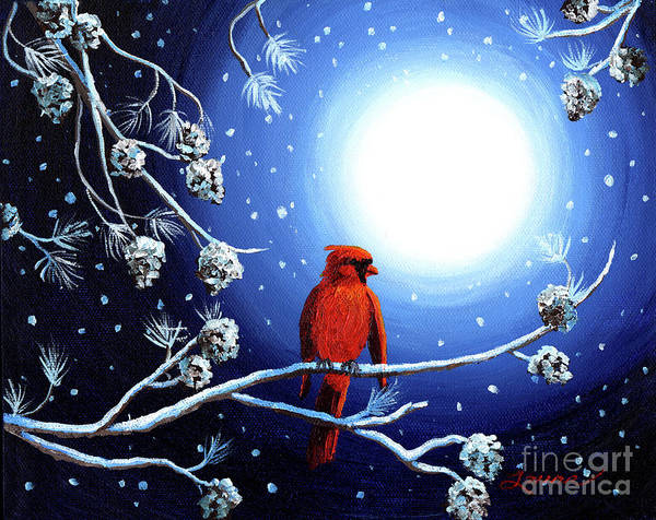 Pine Cones Painting - Cardinal On Christmas Eve by Laura Iverson