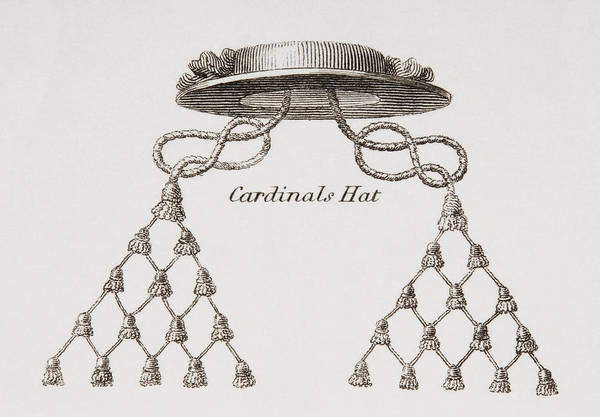 Red Cardinal Drawing - Cardinal S Hat. From The Cyclopaedia Or by Vintage Design Pics