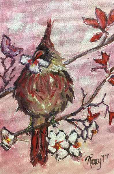 Flower Painting - Cardinal With A Cherry Blossom by Roxy Rich