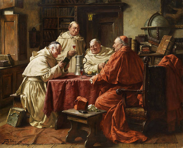 Monk Painting - Cardinal With Monks by Fritz Wagner
