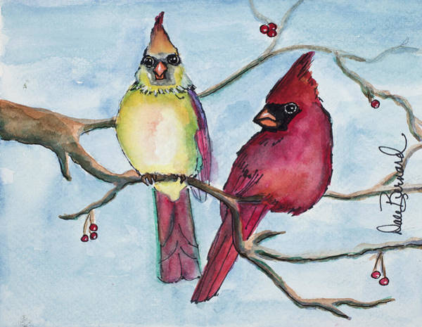Painting - Cardinals by Dale Bernard