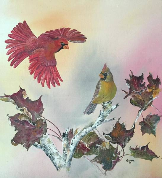 Wall Art - Painting - Cardinals by Wm Garcia