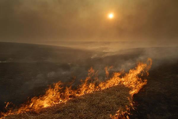 Tallgrass Wall Art - Photograph - Carefully Managed Fires Sweep by Jim Richardson