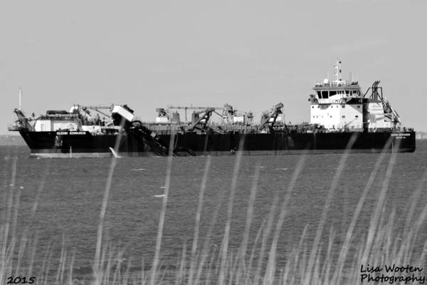 Wall Art - Photograph - Cargo Ship Tybee Island Ga Black And White by Lisa Wooten
