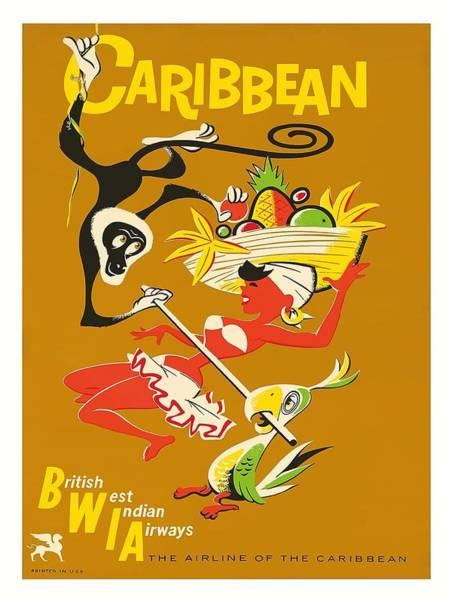 Jamaica Digital Art - Caribbean Limbo Dancer Vintage Airline Travel Poster by Retro Graphics