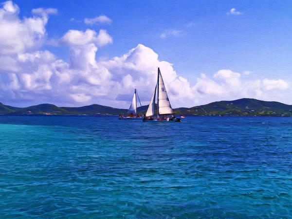 Us Virgin Islands Painting - Caribbean Sailing by Linda Morland