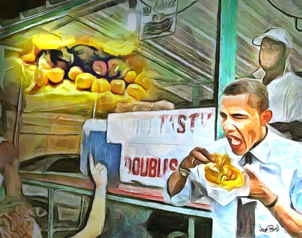 Tobago Wall Art - Painting - Caribbean Scenes - Obama Eats Doubles In Trinidad by Wayne Pascall