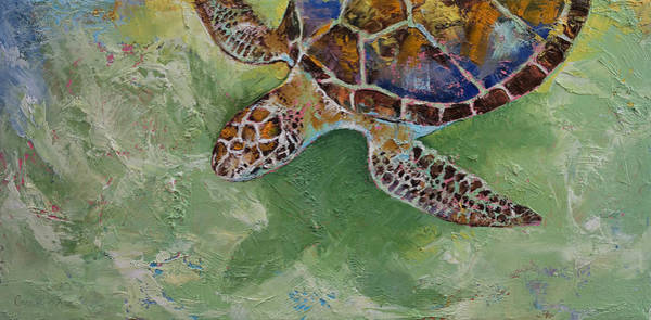 Arte Painting - Caribbean Sea Turtle by Michael Creese
