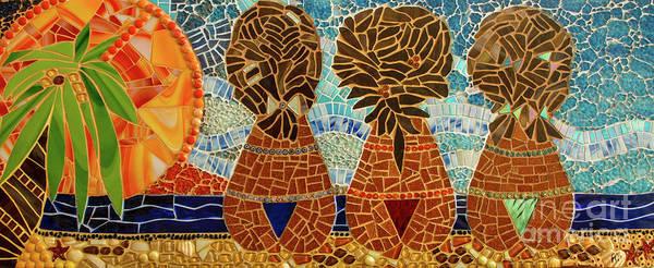 Fat Mixed Media - Caribbean Sunset Mosaic by Adriana Zoon
