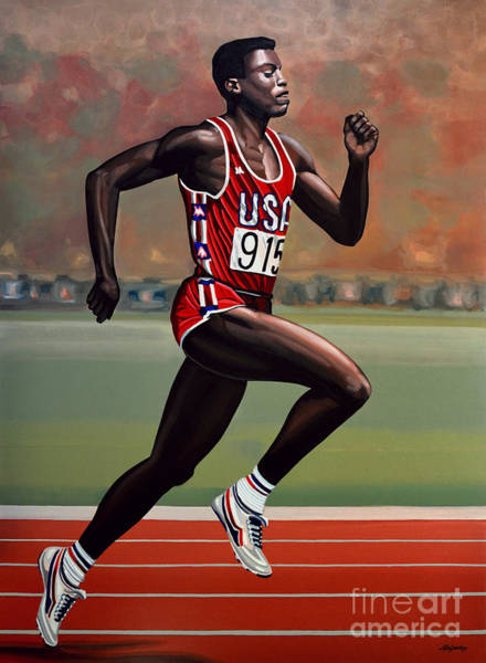 Stadium Painting - Carl Lewis by Paul Meijering
