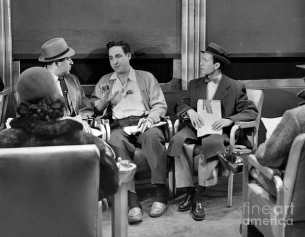 Reiner Photograph - Carl Reiner, Sid Caesar And Howard Morris On The Sid Caesar Show. 1956 by Anthony Calvacca