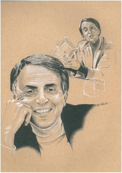 Cosmos Drawing - Carl Sagan by Mike Addleton