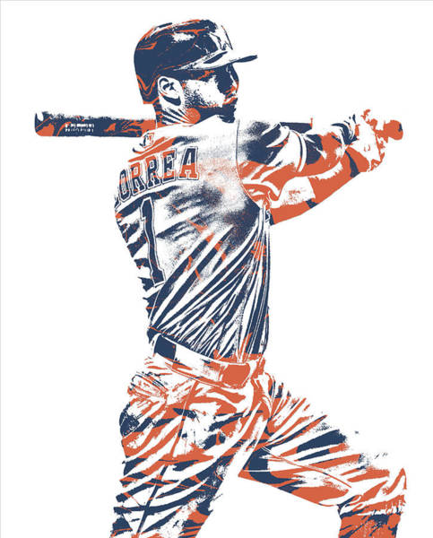 Wall Art - Mixed Media - Carlos Correa Houston Astros Pixel Art 2 by Joe Hamilton