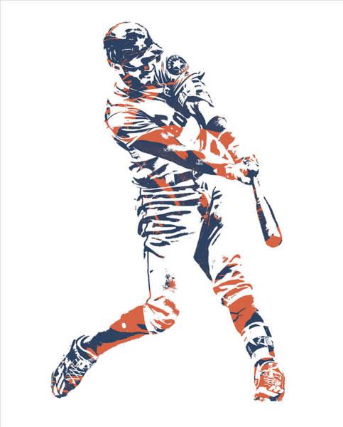 Wall Art - Mixed Media - Carlos Correa Houston Astros Pixel Art 3 by Joe Hamilton