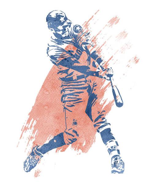 Wall Art - Mixed Media - Carlos Correa Houston Astros Water Color Art 1 by Joe Hamilton