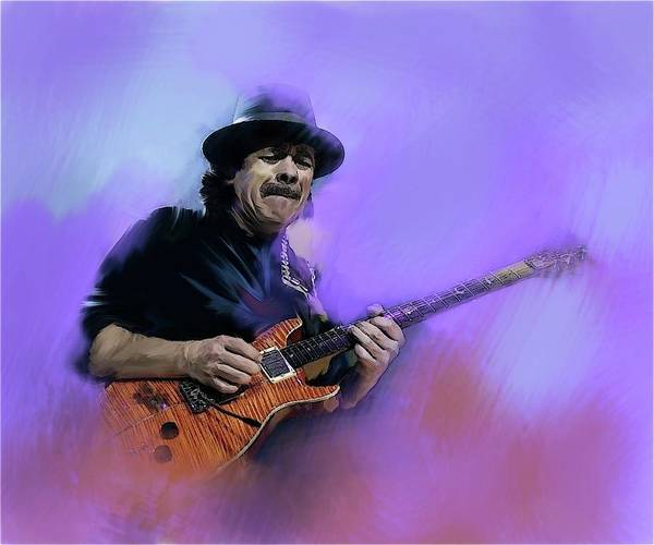 Wall Art - Painting - Carlos Santana Pura Vida by Iconic Images Art Gallery David Pucciarelli