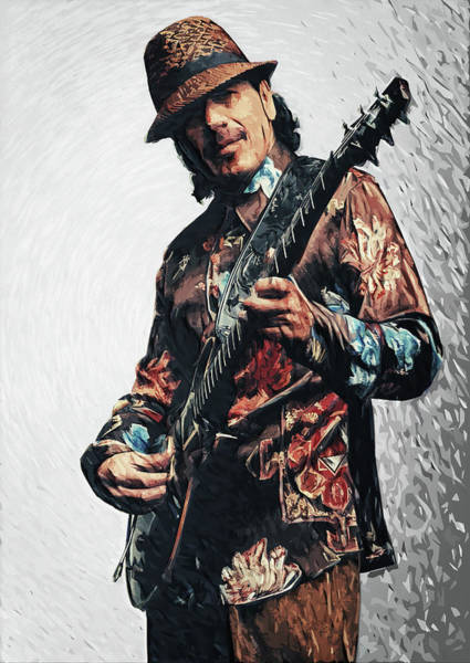 Spanish Guitar Wall Art - Digital Art - Carlos Santana by Zapista Zapista