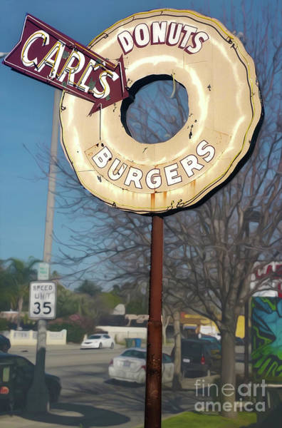 Photograph - Carls Donuts And Burgers Sign by Gregory Dyer