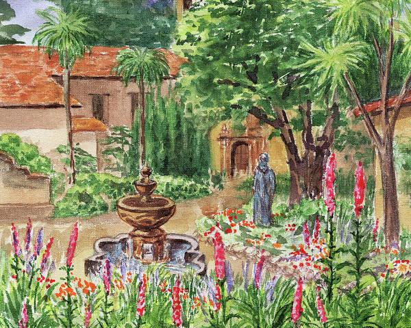 Painting - Carmel Basilica Garden by Irina Sztukowski