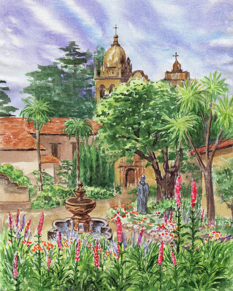 Spanish Missions Wall Art - Painting - Carmel By The Sea Mission by Irina Sztukowski