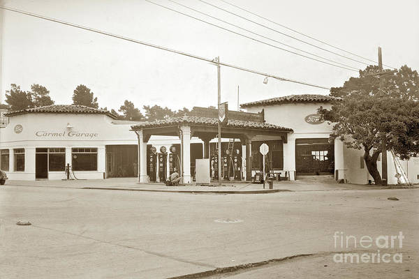 Photograph - Carmel Garage Ford Show Room And Chevron Station Ocean Ave. , Circa 1925 by California Views Archives Mr Pat Hathaway Archives