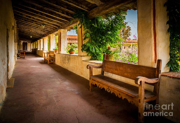 California Mission Photograph - Carmel Mission Hallway by Inge Johnsson