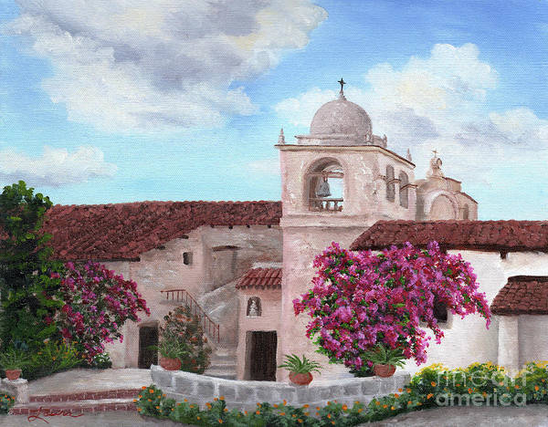 Spanish Missions Wall Art - Painting - Carmel Mission In Spring by Laura Iverson