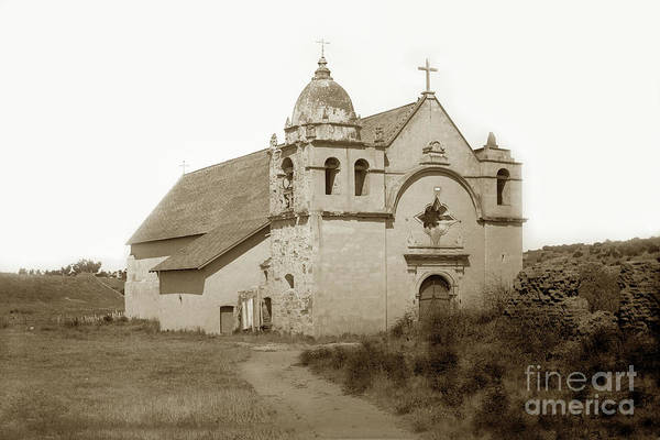 Photograph - Carmel Mission  With The New Peaked Roof  1884 by California Views Archives Mr Pat Hathaway Archives
