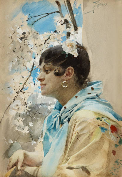 Blooming Tree Drawing - Carmen. Spanish Woman In Profile II by Anders Zorn
