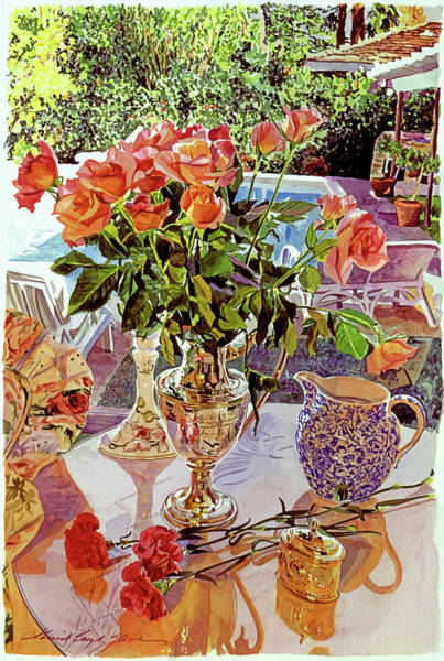 Carnation Painting - Carnations And Roses by David Lloyd Glover