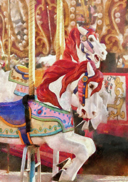 Wall Art - Photograph - Carnival - Carousel Horses  by Mike Savad