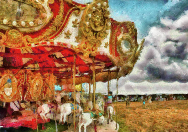 Wall Art - Photograph - Carnival - The Merry-go-round by Mike Savad