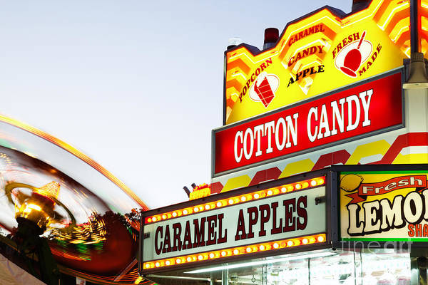 Candy Apples Wall Art - Photograph - Carnival Concession Stand Sign And Ride by Paul Velgos
