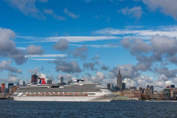 Photograph - Carnival Cruise Splendor Nyc Skyline by Terry DeLuco