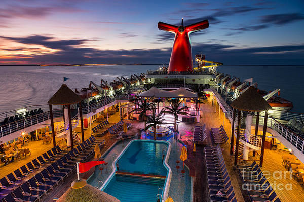 Aft Photograph - Carnival Fascination At Sunset by Dawna Moore Photography