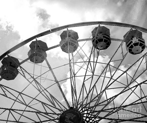 Carnival Rides Wall Art - Photograph - Carnival Ferris Wheel Black And White Print - Carnival Rides Ferris Wheel Black And White Art Prints by Kathy Fornal