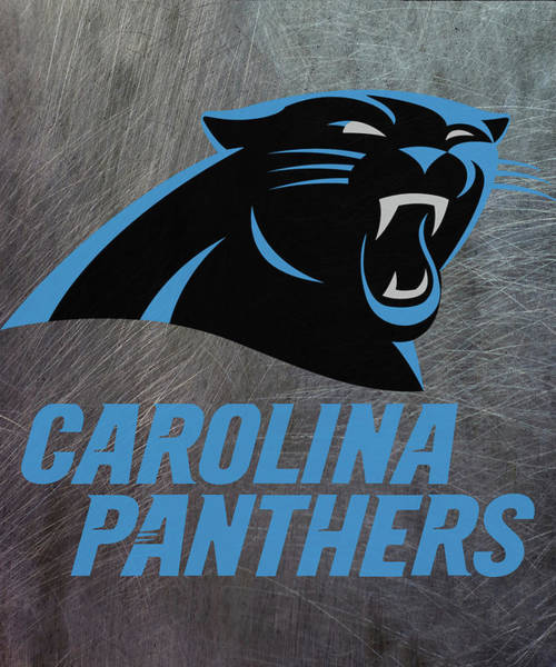 Mixed Media - Carolina Panthers On An Abraded Steel Texture by Movie Poster Prints