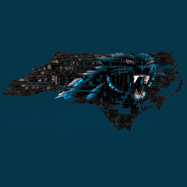 Wall Art - Digital Art - Carolina Panthers Typographic Map 4a by Brian Reaves