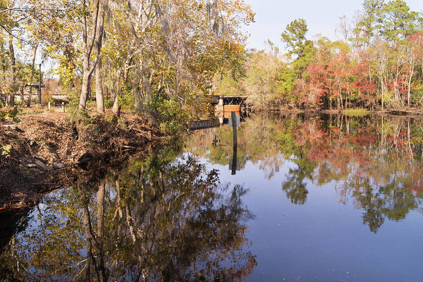 Photograph - Carolina Southern Rail Bridge And Waccamaw River Autumn by MM Anderson