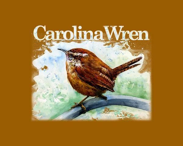Wren Painting - Carolina Wren Shirt by John D Benson