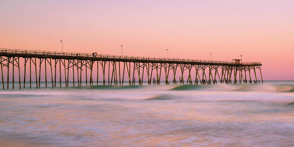 Photograph - Carolinas Kure Beach Fishing Pier Waves And Surf At Sunset Panorama by Ranjay Mitra