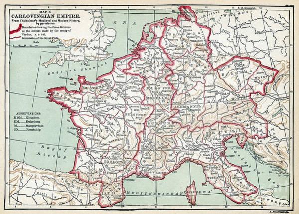 Wall Art - Drawing - Carolingian Empire Map, 843 A.d.  by Granger