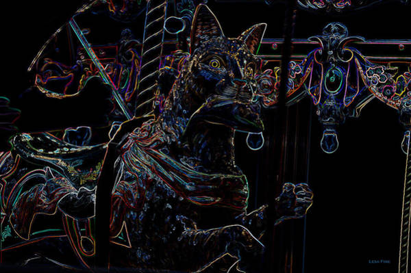 Photograph - Carosel Dreams Neon Cat And Fish by Lesa Fine