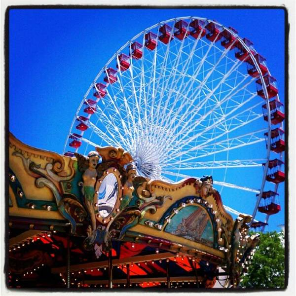 Photograph - Carousel And Ferris Wheel At Navy Pier by Tammy Winand
