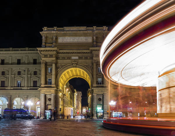 Photograph - carousel at night in Florence, Tuscany, Italy by Alexandre Rotenberg