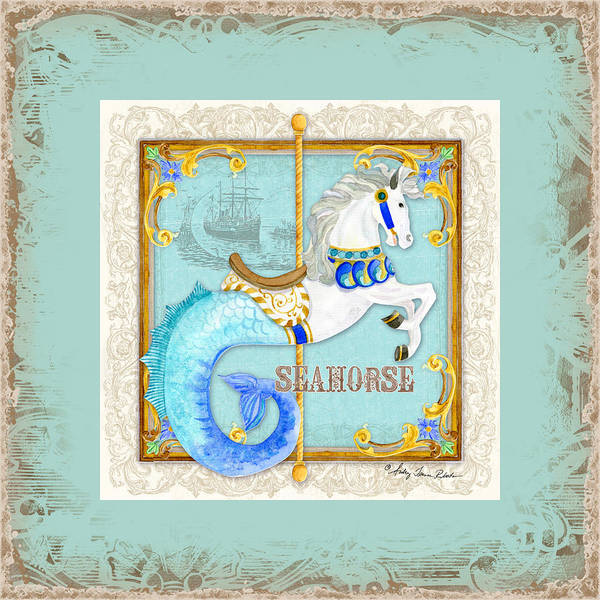 Ring Painting - Carousel Dreams - Seahorse by Audrey Jeanne Roberts