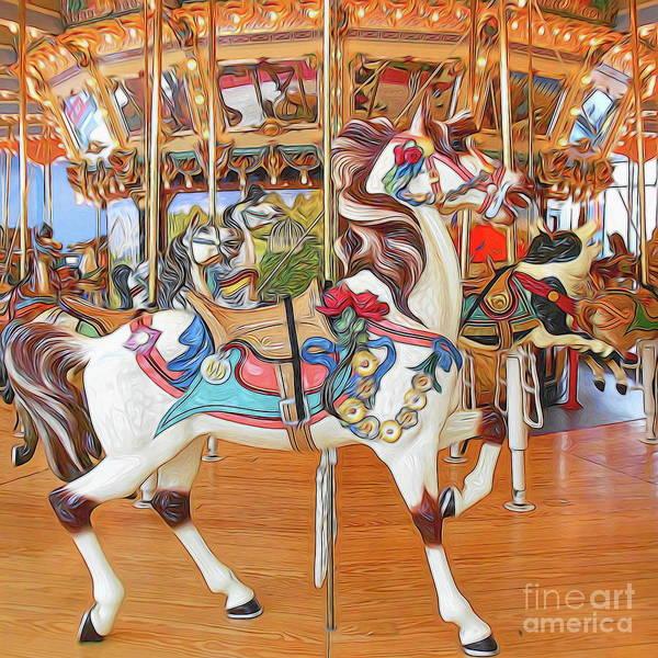 Palomino Horse Mixed Media - Carousel Horse On Wood Floor by Garland Johnson
