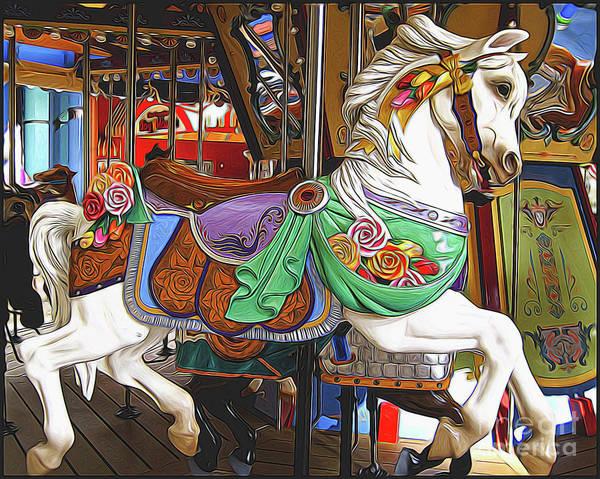 Palomino Horse Mixed Media - Carousel Horse Side View by Garland Johnson