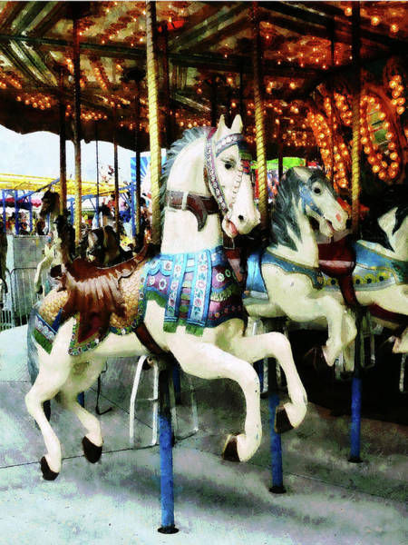 Photograph - Carousel Horses by Susan Savad