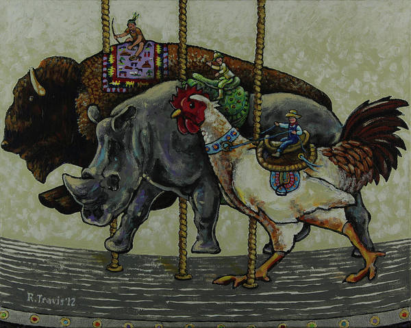 Wall Art - Painting - Carousel Kids 1 by Rich Travis